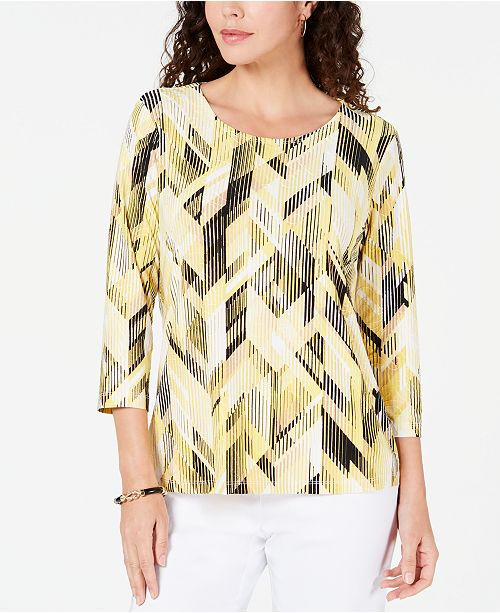 JM Collection 3/4-Sleeve Printed Jacquard Top, Created for Macy's
