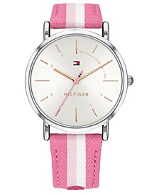 Women's Pink & White Nylon Strap Watch 35mm, Created for Macy's