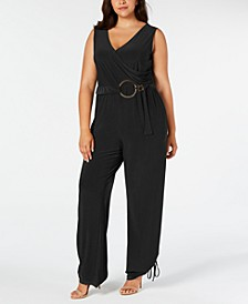 Plus Size Faux Wrap Belted Jumpsuit