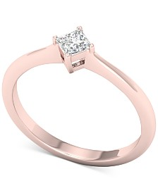 Diamond Princess Solitaire Ring (1/3 ct. t.w.) in 14k Rose Gold