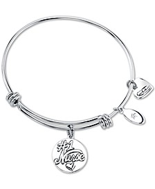 """Nurses have the Most Patients"" Heart Charm Adjustable Bangle Bracelet in Stainless Steel"