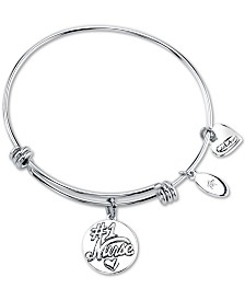 "Unwritten ""Nurses have the Most Patients"" Heart Charm Adjustable Bangle Bracelet in Stainless Steel"