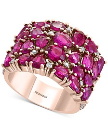 EFFY®Certified Ruby (6-3/4 ct. t.w.) & Diamond (1/2 ct. t.w.) Cluster Statement Ring in 14k Rose Gold