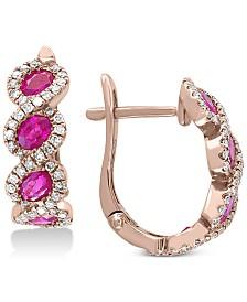 EFFY®Certified Ruby (1-1/3 ct. t.w.) & Diamond (3/8 ct. t.w.) Hoop Earrings in 14k Rose Gold