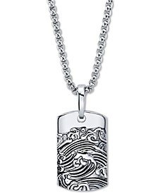 "Wave Motif Dog Tag Pendant Necklace In Stainless Steel, 24"" Chain"
