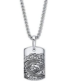 "He Rocks Wave Motif Dog Tag Pendant Necklace In Stainless Steel, 24"" Chain"