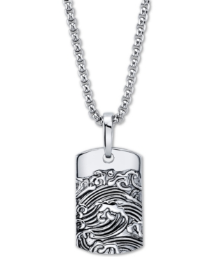Wave Motif Dog Tag Pendant Necklace In Stainless Steel