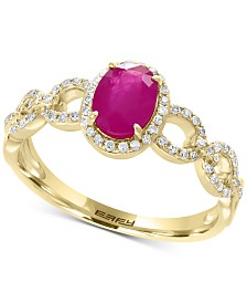 EFFY® Ruby (9/10 ct. t.w.) & Diamond (1/5 ct. t.w.) Statement Ring in 14k Gold
