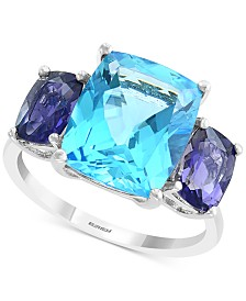 EFFY® Blue Topaz (7-3/4 ct. t.w.) & Iolite (3/4 ct. t.w.) Ring in 14k White Gold