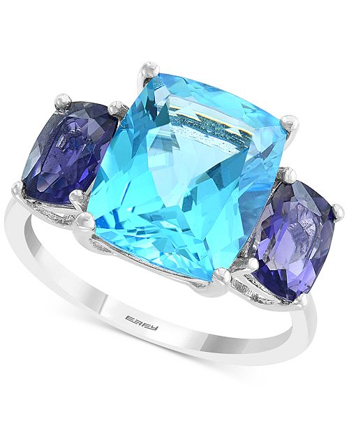 EFFY Collection EFFY® Blue Topaz (7-3/4 ct. t.w.) & Iolite (3/4 ct. t.w.) Ring in 14k White Gold