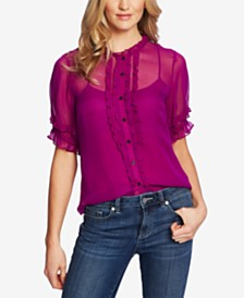 CeCe Semi-Sheer Ruffled Blouse