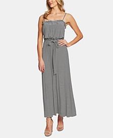 Tie-Waist Striped Ruffled Dress