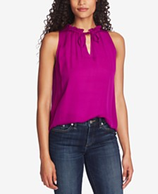 CeCe Ruffled Split-Neck Top