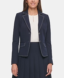 Tommy Hilfiger Stitched-Trim Notched-Lapel Blazer