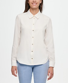 Tommy Hilfiger Scalloped-Placket Blouse
