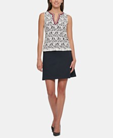 Tommy Hilfiger Lace Split-Neck Top