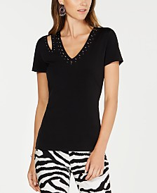 I.N.C. Studded Cutout T-Shirt, Created for Macy's