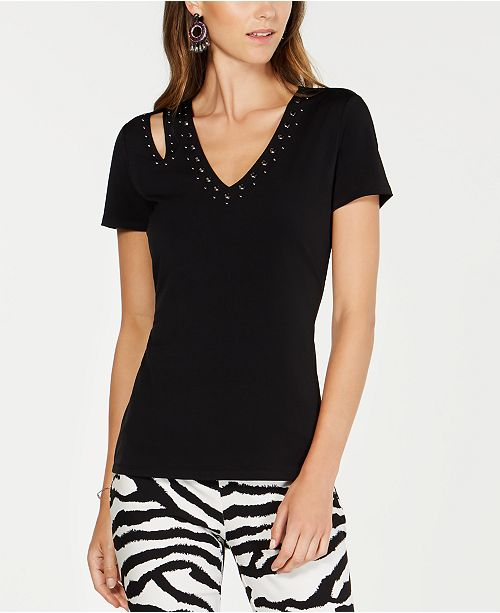 INC International Concepts INC Studded Cutout T-Shirt, Created for Macy's