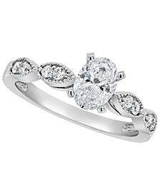 Certified Oval Diamond Engagement Ring (7/8 ct. t.w.) in Platinum