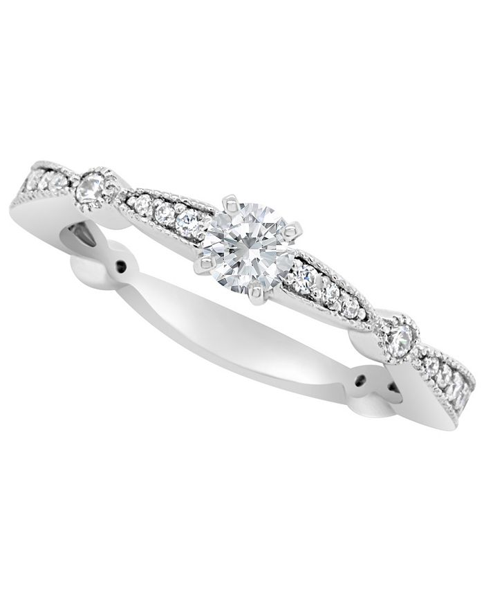 Macy's - Certified Round Diamond Engagement Ring (1/2 ct. t.w.) in 14k White Gold, Rose Gold, or Yellow Gold