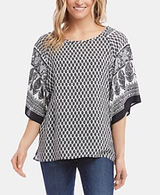 Printed Batwing-Sleeve Top