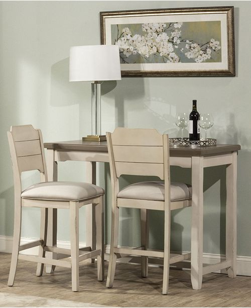 Hillsdale Clarion 3-Piece Counter Height Side Dining Set with Open Back Stools