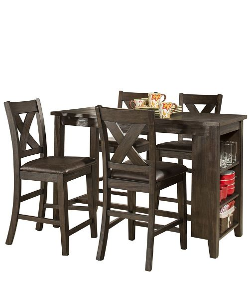 Hillsdale Spencer 5-Piece Counter Height Dining Set with X-Back Counter Height Stools