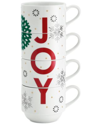 Holiday Sayings Joy Stackable Mugs, Set of 4, Created for Macy's