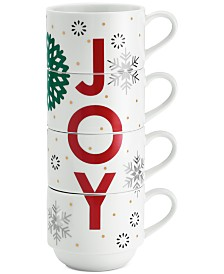 The Cellar Holiday Sayings Joy Stackable Mugs, Set of 4, Created for Macy's