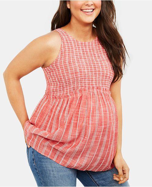 Motherhood Maternity Smocked Chambray Top