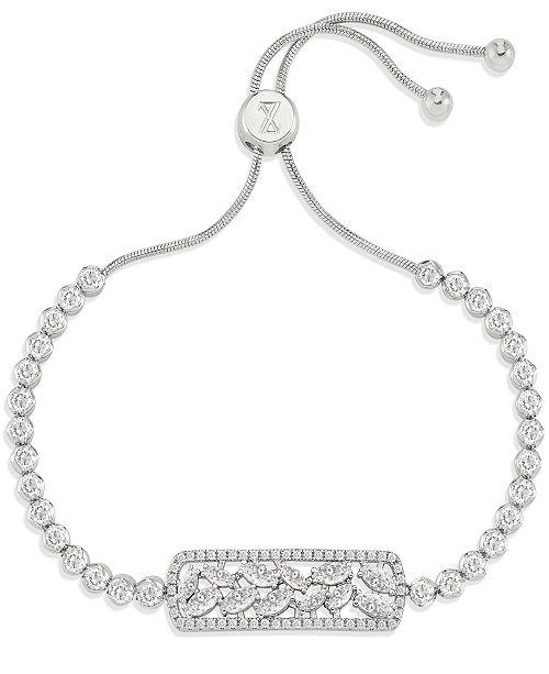 ZAXIE by Stefanie Taylor ZAXIE Pave Silver Bolo Bracelet