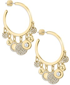 ZAXIE Glow Figure Gold Hoops with Charms