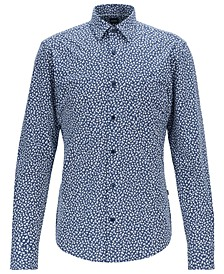 BOSS Men's Ronni_P Slim-Fit Floral-Print Shirt