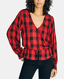 Jasper Plaid Peplum Top