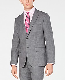 Men's Classic/Regular Fit UltraFlex Stretch Gray Sharkskin Suit Jacket
