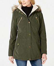 Faux-Fur-Trim Hooded Anorak Coat
