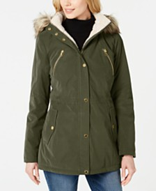 Nautica Faux-Fur-Trim Hooded Anorak Coat