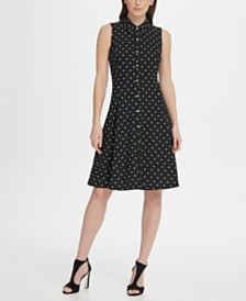 DKNY Polka-Dot Button Front Shirt Dress