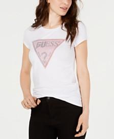 GUESS Crewneck Glitter-Graphic T-Shirt