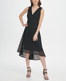 DKNY V-Neck Square Mesh Midi Dress