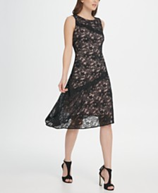 DKNY Asymmetric Hem Lace Dress
