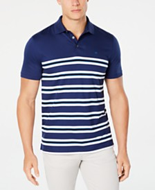 Calvin Klein Men's Engineered Stripe Ribbed Polo Shirt