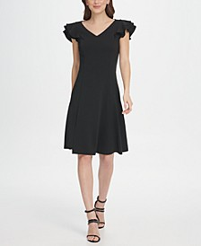 Ruffle Sleeve V-Neck Fit & Flare Dress