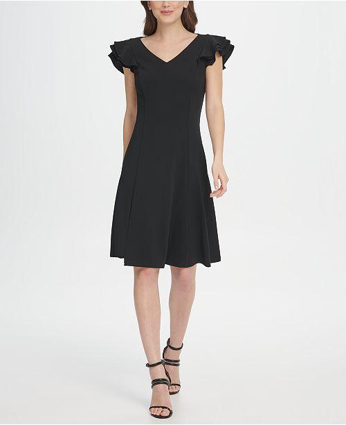 DKNY Ruffle Sleeve V-Neck Fit & Flare Dress