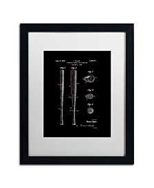 """Claire Doherty 'Baseball Bat Patent 1939 Black' Matted Framed Art - 16"""" x 20"""""""