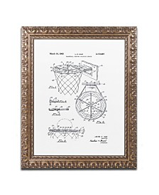 """Claire Doherty 'Basketball Hoop Patent 1965 White' Ornate Framed Art - 11"""" x 14"""""""