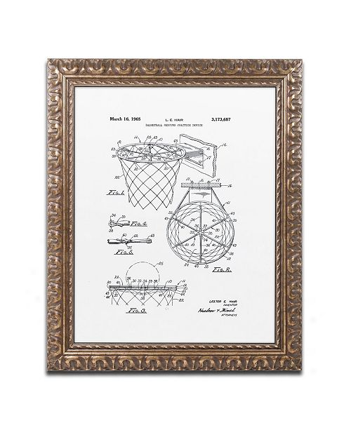 """Trademark Global Claire Doherty 'Basketball Hoop Patent 1965 White' Ornate Framed Art - 11"""" x 14"""""""