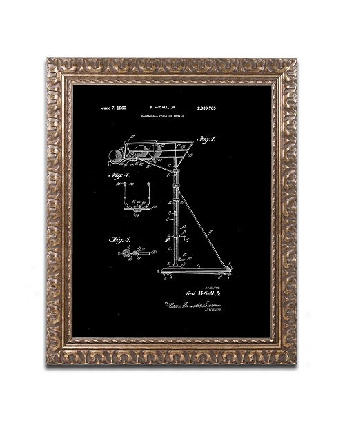 """Trademark Global Claire Doherty 'Practice Device Patent Part 1 Black' Ornate Framed Art - 11"""" x 14"""""""
