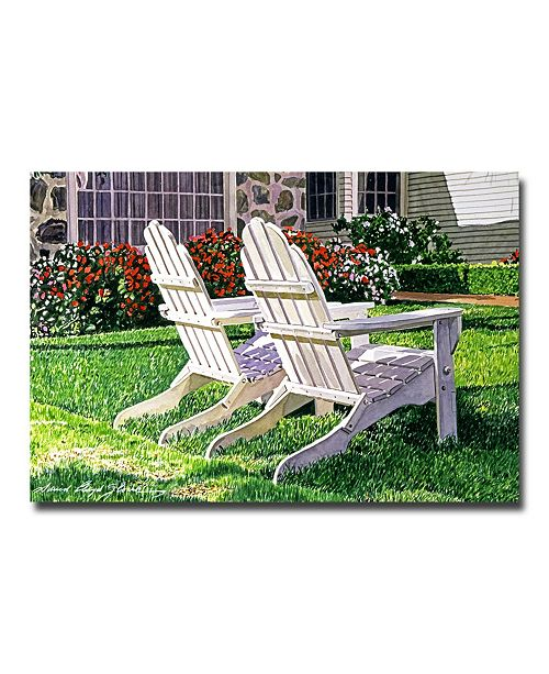 "Trademark Global David Lloyd Glover 'White Chairs on Carmelina' Canvas Art - 47"" x 30"""