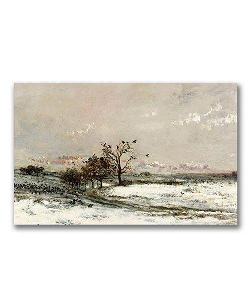 "Trademark Global Charles Daubigny 'The Snow 1873' Canvas Art - 24"" x 12"""